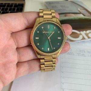 Oversized Gold Green Michael Kors Blake Watch